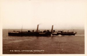 Vintage Real Photo Postcard, S.S Royal Sovereign Steamer, Ramsgate, Kent AC5