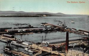 10208  Quebec   Aerial view of  Harbour, Wharfs,  Bldgs.  Sail and Steam Ships