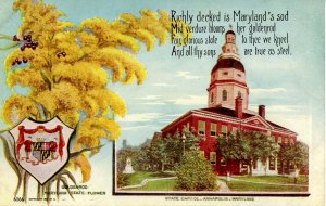 MD - State Flower & Capitol. Golden Rod & Annapolis