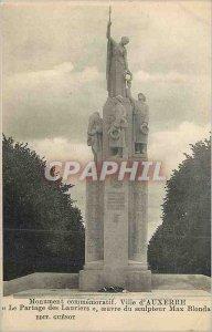 Postcard Old City of Auxerre Commemorative Monument Le Partage des Lauriers
