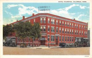Columbus NE Hotel Thurston, Corner Entrance Vintage 1928 Automobiles Postcard