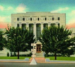 Princeton WV West Virginia Morgan County Court House UNP Vtg Linen Postcard
