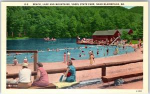 Blairsville, Georgia Postcard VOGEL STATE PARK Bathing Beach Scene c1940s