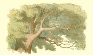 The Cheshire Cat in Trees Alice In Wonderland Victorian Book Postcard