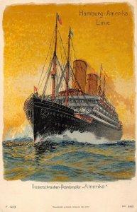 LP39  Hamburg Amerika Line  Ship Vintage Postcard