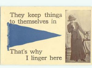 Divided-Back PRETTY WOMAN Risque Interest Postcard AA7981