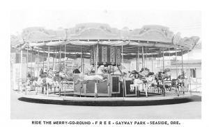 Merry Go Round, Gateway Park, Seaside Oregon, USA Circus Post Card Writing on...