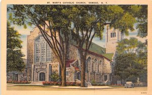 St Mary's Catholic Church Oswego, New York Postcard
