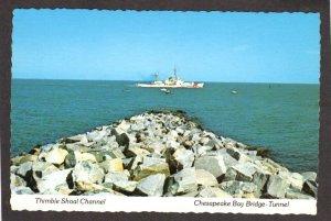 VA Chesapeake Bay Bridge Tunnel US Coast Guard Ship Virginia Beach Postcard