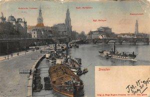Dresden kath Hofkirche River Boats Bridge Postcard