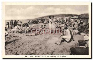 Old Postcard Deauville dancing on the beach