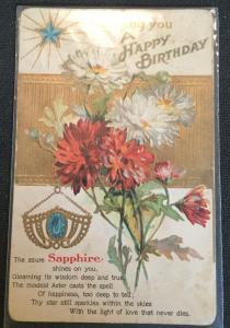 "Postcard Unused writing on back ""A Happy Birthday"" Flowers LB"