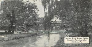 Hershey Pennsylvania~Park Rustic Bridge~Chocolate Co~1910 B&W Candy Bar PC