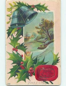 Divided-Back new year SILVER BELLS & WINTER SCENE o4685