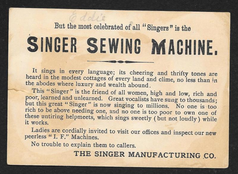 VICTORIAN TRADE CARD Singer Sewing Co 'Celebrated Singers Campanini' Man
