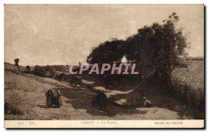 Old Postcard Corot Le Vallon Louvre Museum Paris