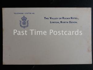 Devon LYNTON - VALLEY OF THE ROCKS HOTEL Hotel Stationary Postcard c1903 UB