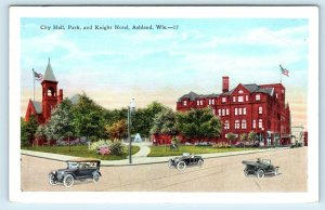 ASHLAND, WI Wisconsin  CITY HALL Park, & KNIGHT HOTEL Street Scene 1938 Postcard