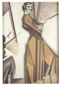 Percy Wyndham Lewis Smiling Woman Ascending A Stair Art London Painting Postcard