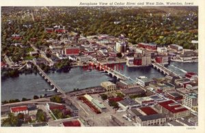 AEROPLANE VIEW OF CEDAR RIVER AND WEST SIDE, WATERLOO, IA