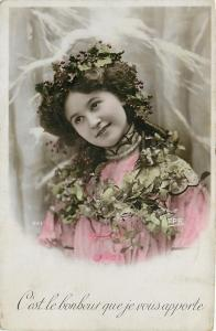 Christmas Girl In Holly Berry Crown~Mistletoe Wreath Necklace~Colorized RPPC