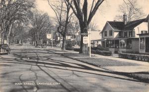 Lakeville Connecticut~Main Street~Tourist Rooms~Service Station~1940s B&W PC