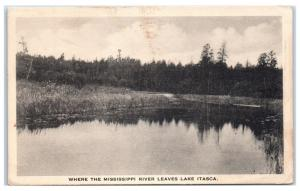 Early 1900s Where the Mississippi River Leaves Lake Itasca, MN Postcard