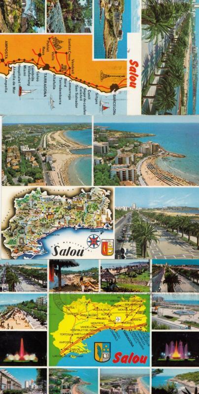 Salou Near Tarragona 3x Spanish Map Postcard s