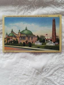 Antique Postcard, Cleopatra's Needle and Planetarium in Rosicrucian Park...