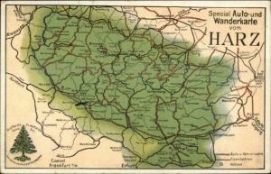 Germay Auto Map HARZ c1910 Postcard