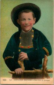 Vtg Postcard - Costumes Bretons France - Petit Gars De Quimper - Boy in Blue UNP
