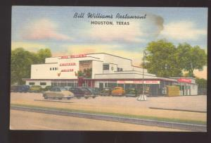 HOUSTON TEXAS BILL WILLIAMS RESTAURANT LINEN ADVERTISING POSTCARD OLD CARS