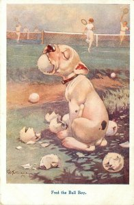 c1922 Postcard Geo. Studdy Dog, Fred the Ball Boy Chews up Tennis Balls RPS 1014