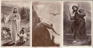Early photo postcards religion Jesus Christ good shepherd lost sheep lamb eagle