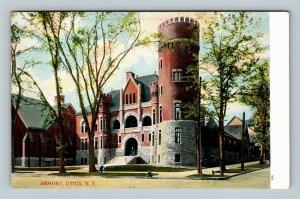 Utica NY, Armory Building, Architect William Haugaard Vintage New York Postcard