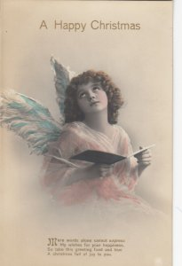 RP: CHRISTMAS; 1900-10s; A Happy Christmas, Angel holding book, poem