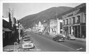 Autos Bank Street Highway 10 1940s Wallace Idaho RPPC Real photo 96 Hall