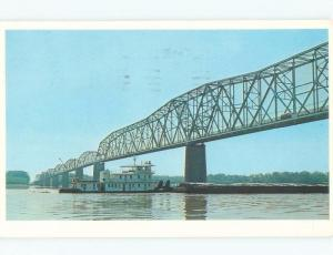 Pre-1980 TOWBOAT BOAT UNDER MISSISSIPPI RIVER BRIDGE Cape Girardeau MO d4625