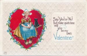 Valentine Greetings - Say Yes or No Say it Fast - Dutch Girl Black Cat DB E Nash