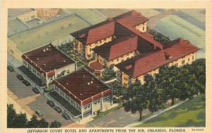 Apartments Jefferson Court Hotel 1930s Orlando Florida Teich linen Birdseye 5974