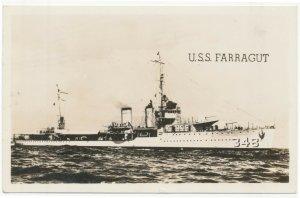 1942 RPPC U.S.S. Farragut Cecil Hamilton Great Lakes Real Photo Postcard
