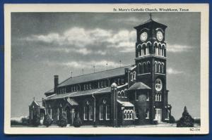 Windthorst Texas tx St Mary's Catholic Church old postcard