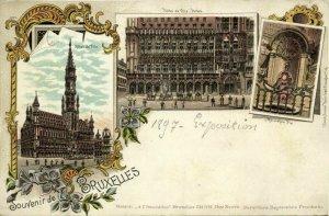 belgium, BRUSSEL BRUXELLES, Hôtel de Ville, Manneken Pis (1897) Litho Postcard