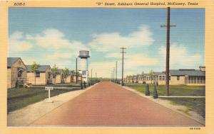 McKinney Texas~D Street~Ashburn General Hospital~Bus Stop~Barracks~1944 Postcard