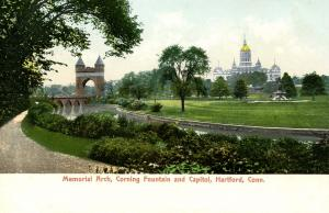 CT - Hartford. Bushnell Park. Memorial Arch, Capitol and Corning Fountain