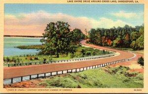 Louisiana Shreveport Lake Shore Drive Around Cross Lake 1952 Curteich