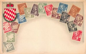 Monaco Stamps on Early Postcard, Unused, Published by Ottmar Zieher