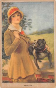 Woman with Pug Bulldog Protected Vintage Postcard JJ658776