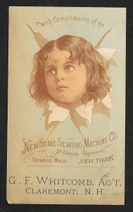 VICTORIAN TRADE CARD New Home Sewing Co Head of Child Busting Through