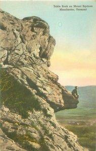 Manchester, VT Table Rock on Mount Equinox Postcard, Man on Rock